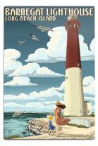 Lantern Press Long Beach Island, New Jersey, Barnegat Lighthouse 53784 (6x9 Aluminum Wall Sign, Wall Decor Ready to Hang)