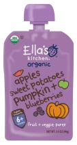 Ella's Kitchen Organic 6+ Months Baby Food, Apples Sweet Potatoes Pumpkin and Blueberries, 3.5 oz. Pouch (Pack of 12) [Packaging May Vary]
