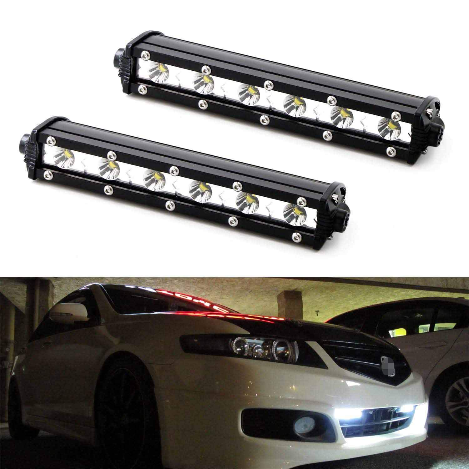 iJDMTOY (2) Xenon White 18W High Power CREE LED Daytime Running Light Kit w/Relay Wire Harness, Universal Fit Compatible With Car, Truck, SUV, etc