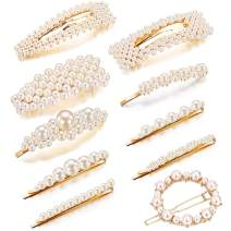 Pearl Hair Clips for Women Girls, Kingtree 10PCS Artificial Pearls Alligator Clips Handmade Barrettes for Wedding Bridal Hairpin Decorative Hair Accessories