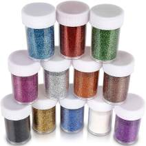 Glitter for Slime, Teenitor Extra fine Glitter Shakers in Shaker Jars, Great for Slime, Art and Crafts, Nail Art Polish, Scrapbooking, Paints, Assorted Color Kit, 15g Each, Set of 12