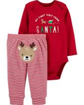 Baby Boy Girl First Christmas Outfit My 1st Christmas Romper +Pants 2PCS Clothing Set