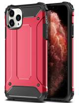 WOLLONY Armor Case for iPhone 11 Pro Max, Rugged Heavy Duty Hybrid Hard Impact Resistant Slim Phone Case Anti-Scratch Durable Cover for iPhone 11 Pro Max 6.5inch Support Wireless Charging Red