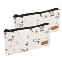 Teskyer Pencil Case/Pen case/Pencil Pouch for Students, Zipper Stationery Bag for Pens and Pencils, Women's Small Makeup Pouch, Utility Zipper Cash Coin Bag-2 Pack,Creamy-White