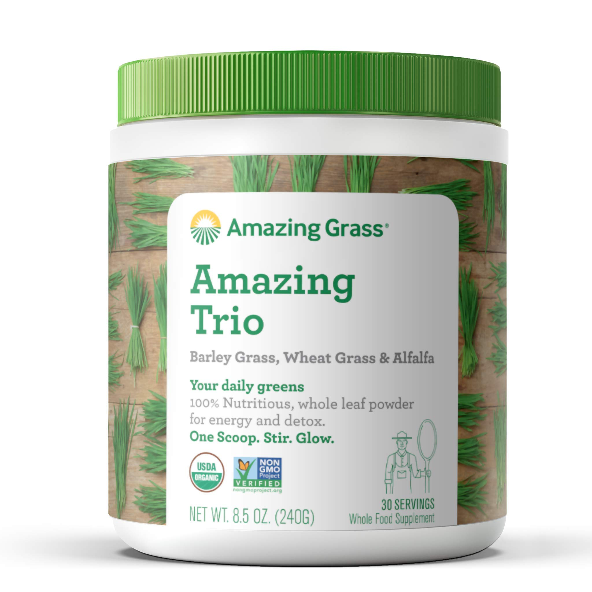 Amazing Grass Greens Trio: Greens Powder with Wheatgrass, Alfalfa, & Barley Grass, Rich Source of Chlorophyll, 30 Servings