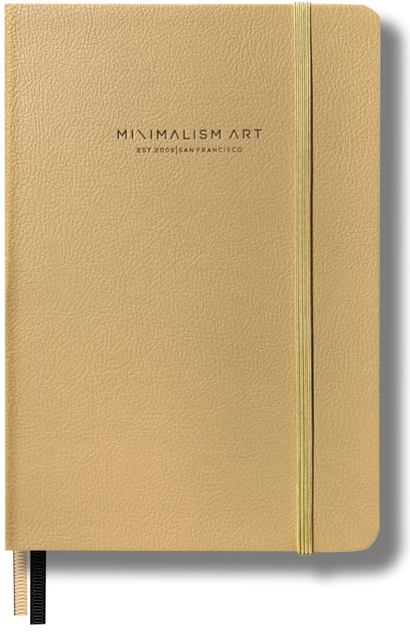 Minimalism Art, Premium Edition Notebook Journal, Classic 5 x 8.3 inches, Dotted Grid Page, Hard Cover, 124NumberedPages, GussetedPocket, Ribbon Bookmark, Ink-ProofPaper120gsm (Gold)