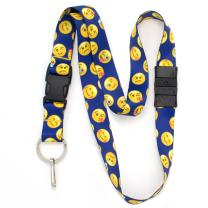 Buttonsmith Blue Emoji Breakaway Lanyard - with Buckle and Flat Ring - Made in The USA