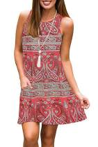 SimpleFun Women's Summer Sleeveless Bohemian Print Tunic Swing Loose Pockets T-Shirt Dress