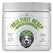SAFE PETS CLUB 9-in-1 Dog Multivitamin with Organic Hemp Oil - Dog Joint Supplement - Daily Dog Vitamins and Minerals with Antioxidants - Immune Support - Probiotics for dogs - 120 Chews - Made in USA