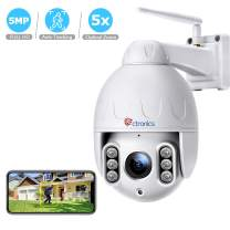 Ctronics PTZ Security Camera Outdoor Auto Tracking 5MP HD WiFi IP Home Surveillance Camera, Pan/Tilt 5X Optical Zoom, with 2 Way Audio, Motion Detection,165 feet Night Vision, IP66 Waterproof (White)