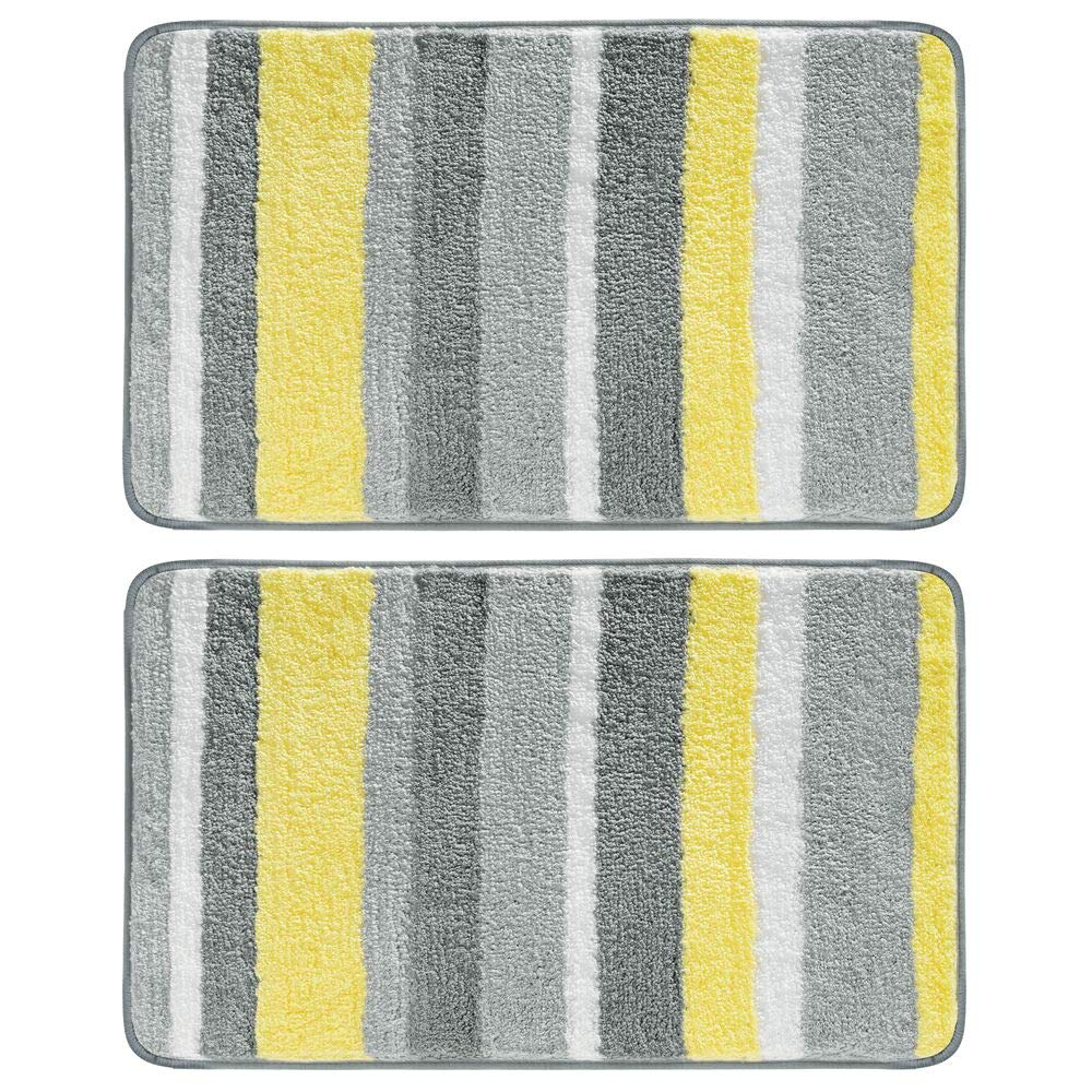 """mDesign Soft Microfiber Polyester Non-Slip Spa Mat, Plush Water Absorbent Accent Rug for Bathroom Vanity, Bathtub/Shower - Machine Washable, Striped Design, 34"""" x 21"""" - 2 Pack - Gray/Yellow"""