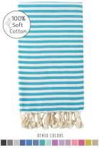 Fringe Home Turkish Towel, Turkish Beach Towel, Striped Beach Towel, Turkish Bath Towel, Peshtemal Towel, 100% Cotton (Turquoise)