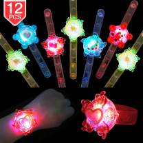 PROLOSO Light Up Bracelet LED Party Favors with Gyro Stocking Stuffers Toys for Kids Prizes Glow in The Dark Party Supplies Bulk (12 pcs)