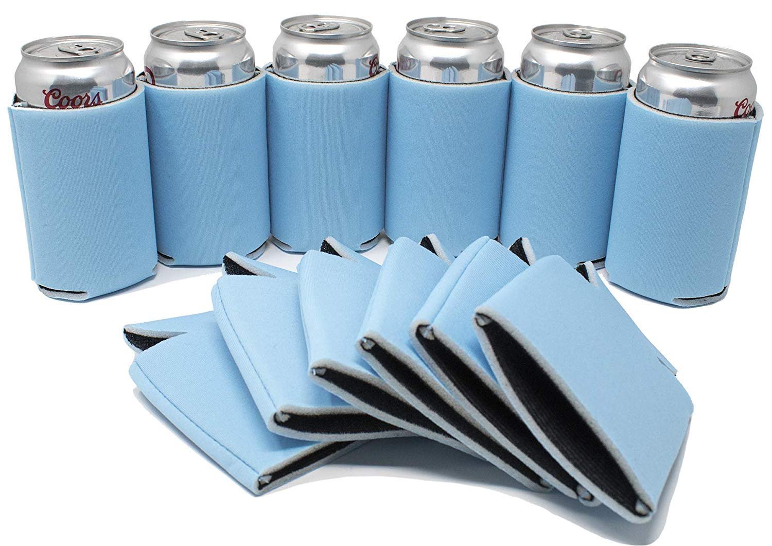 TahoeBay 25 Blank Beer Can Coolers, Plain Bulk Collapsible Soda Cover Coolies, DIY Personalized Sublimation Sleeves for Weddings, Bachelorette Parties, Funny HTV Party Favors (Placid Blue, 25)