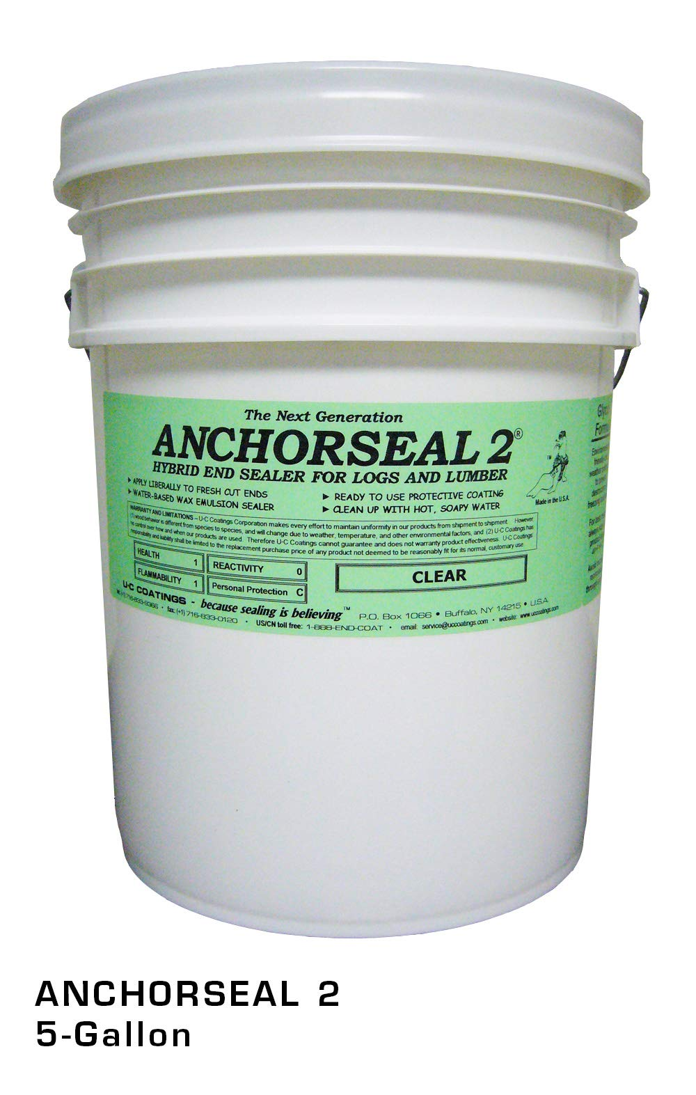ANCHORSEAL 2 Hybrid Log & Lumber end Grain Sealer - Water-Based Wax & Polymer Prevents up to 90% of end Checking (Drying Splits) on Cut Ends. Green Wood Sealer for Turning Blanks & Bowls. (5 Gallon)