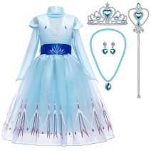 Toyssa Frozen Elsa Dress Girls Princess Costume Birthday Party Dress Up Cosplay Outfit