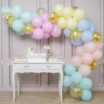 PartyWoo Pastel Balloons, 70 pcs 12 Inch Pastel Latex Balloons, Gold Confetti Balloons, Pastel Color Balloons for Pastel Party Decorations, Pastel Birthday Decorations, Pastel Rainbow Party Supplies