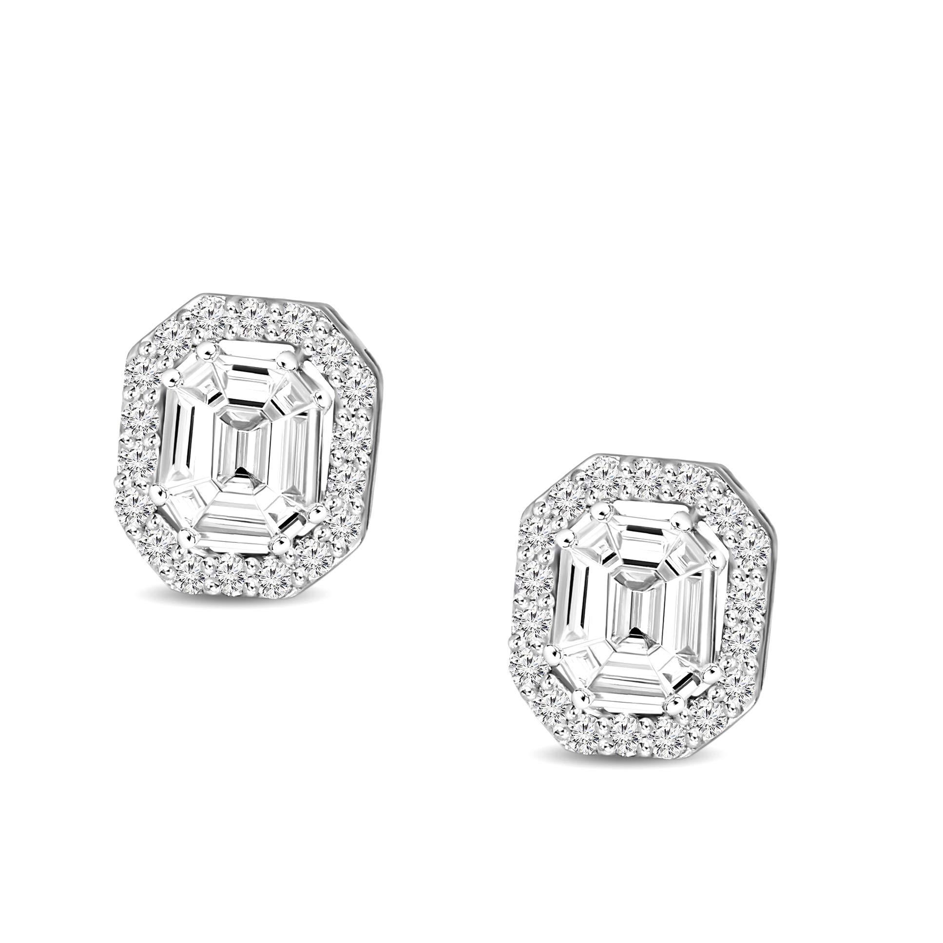 Natural Diamond Earrings IGI Certified 1/2 cttw Diamond Earrings For Women Emerald Shape Diamond Stud Earring SI-GH Quality 14K Real Diamond Pie Cut Halo For Women