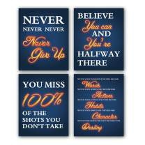 """HPNIUB Inspirational Quotes Art Prints, Set of 4 (8""""X10""""), Work Out Gym Canvas Poster, Motivational Never Give Up Painting Positive Signs for Gym Yoga Room Classroom Office Decor, No Frame"""