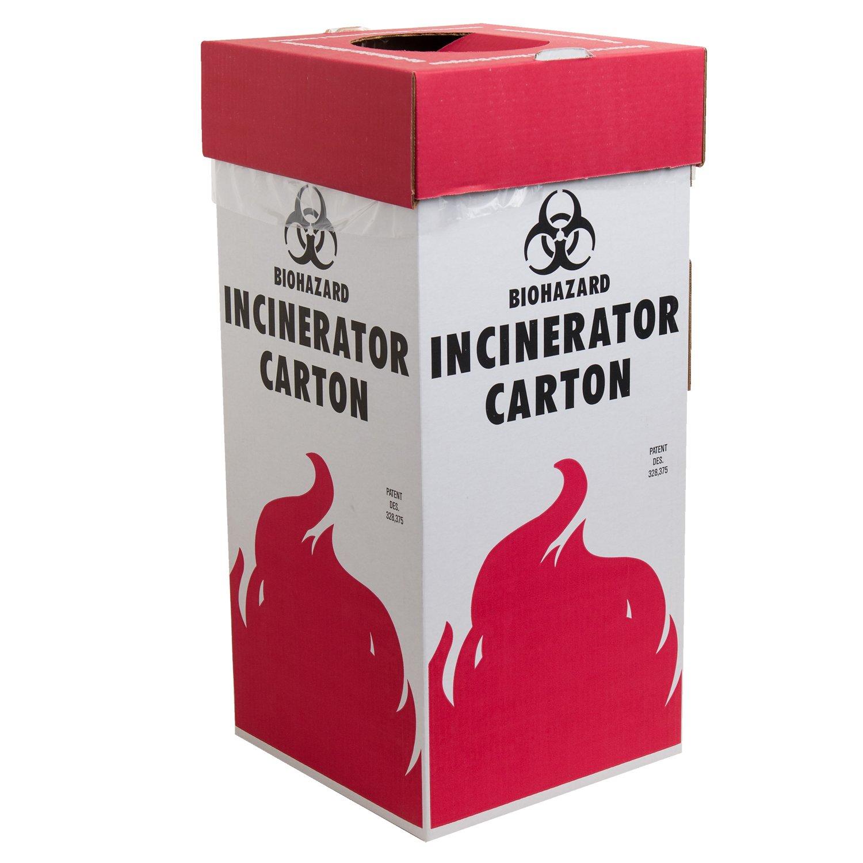 Bel-Art Cardboard Biohazard Incinerator Cartons; 12 x 12 x 27 in, Floor Model (Pack of 6) (F13205-0001)