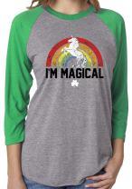 SoRock Unisex St. Patrick's Day I'm Magical Rainbow Unicorn 3/4 Sleeve Tri Blend Tshirt Small Green