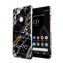 BURGA Phone Case Compatible with Google Pixel 3 - Black and Gold Onyx Marble Golden Stone Cute Case for Women Thin Design Durable Hard Plastic Protective Case