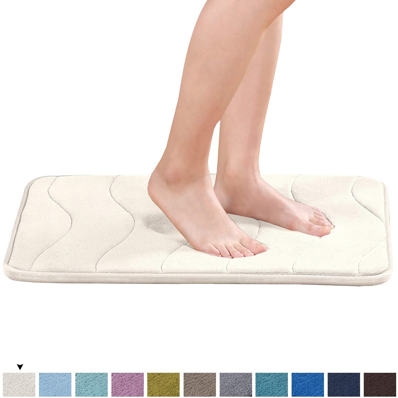 "Super Soft Microfiber Memory Foam Bath Rug Extra Absorbent and Comfortable Machine-Washable Bathroom Mat 24"" x 17"", Beige"