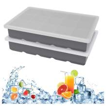 Ice Cube Trays Set of 2, Ouddy Stackable Durable Silicone Ice Cube Mold Easy Release Silicone 15-Ice Trays with Removable Lids for Chilled Drinks, Whiskey & Cocktails (Grey)