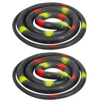 Aooba 2 Pieces Large Rubber Snakes 47 Inches,Fake Snake Black Mamba Snake Toys Prank Stuff for Halloween Decoration Garden Props