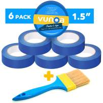 """Blue Painters Tape, 6 Pack 1.5"""" x 60 Yards Length, with Easy Removal for All Surfaces, UV Resistant 14 Days Clean, No Residue, Delivers Sharp Paint Lines with a Paint Brush Included"""