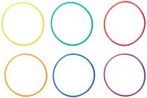 Sportime UltraHoops Strong and Controllable No-Kink PE Hoops - 24 inch - Set of 6 - Assorted Colors
