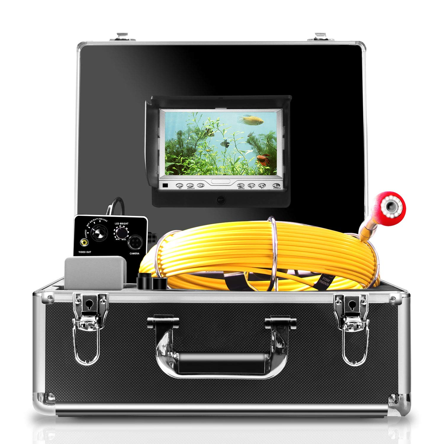 Pipe Inspection Camera,IHBUDS Pipeline Drain Industrial Endoscope, 30M/100ft IP68 Waterproof Snake Video System with 7 Inch LCD Monitor 1000TVL Sony CCD DVR Recorder Sewer Camera(8GB SD Card Included)