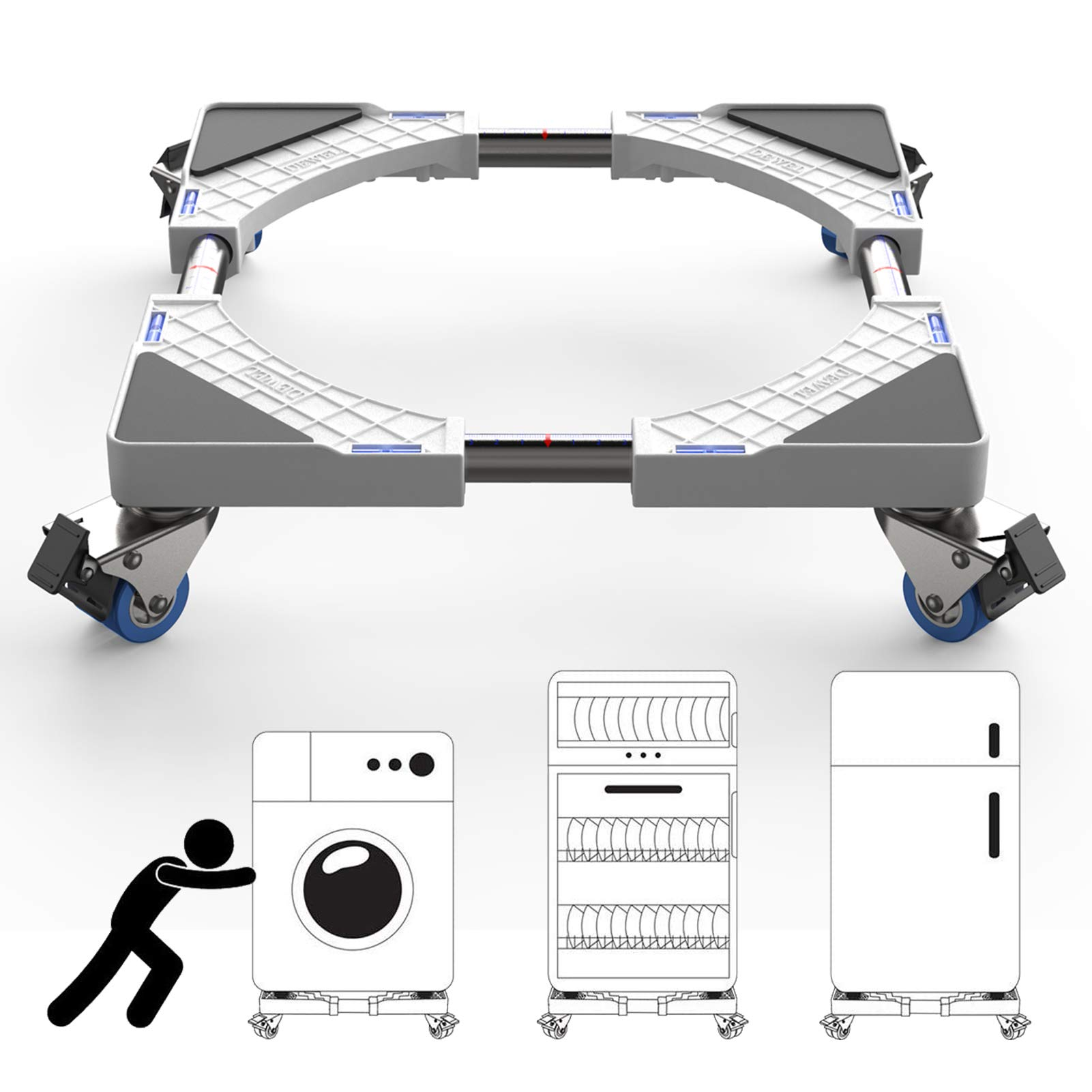 Washer and Dryer Stand Base, Free of Installation Universal Mobile Base, Multi-Functional Movable Adjustable Base Stand with 4 Double Wheels for Washing Machine and Refrigerator