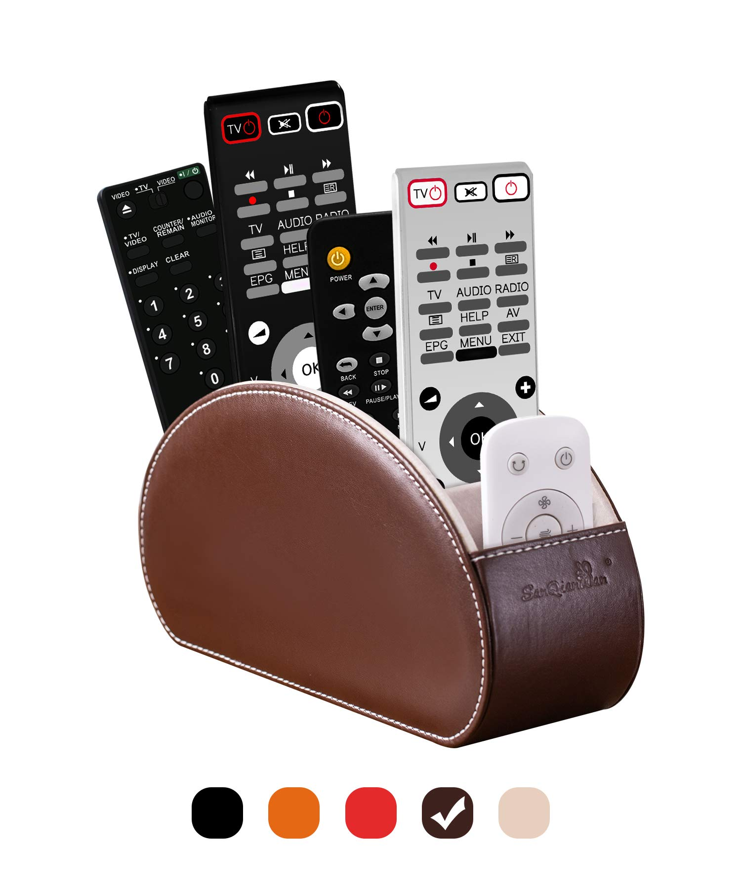 Tv Remote Control Holders Organizer Box with 5 Compartment PU Leather Multi-Functional Desk Organize and Storage Caddy Store tv Remote Holders ,Brush ,Pencil,Glasses and Media Player (Nut Brown)