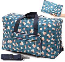 Foldable Travel Duffle Bag for Women Girls Large Cute Floral Weekender Overnight Carry On Bag for Kids Checked Luggage Bag (A-Blue flower)