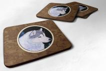 """Caroline's Treasures SS8617FC Siberian Husky Foam Coasters (Set of 4), 3.5"""" H x 3.5"""" W, Multicolor"""
