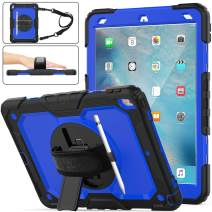 "SEYMAC stock iPad Air 3 Case, Shockproof [Full-Body] Rugged Armor Case with 360 Rotating Stand [Pencil Holder] [Screen Protector] Hand Strap for iPad Air 3 10.5""2019/ iPad Pro 10.5 2017(Blue+Black)"