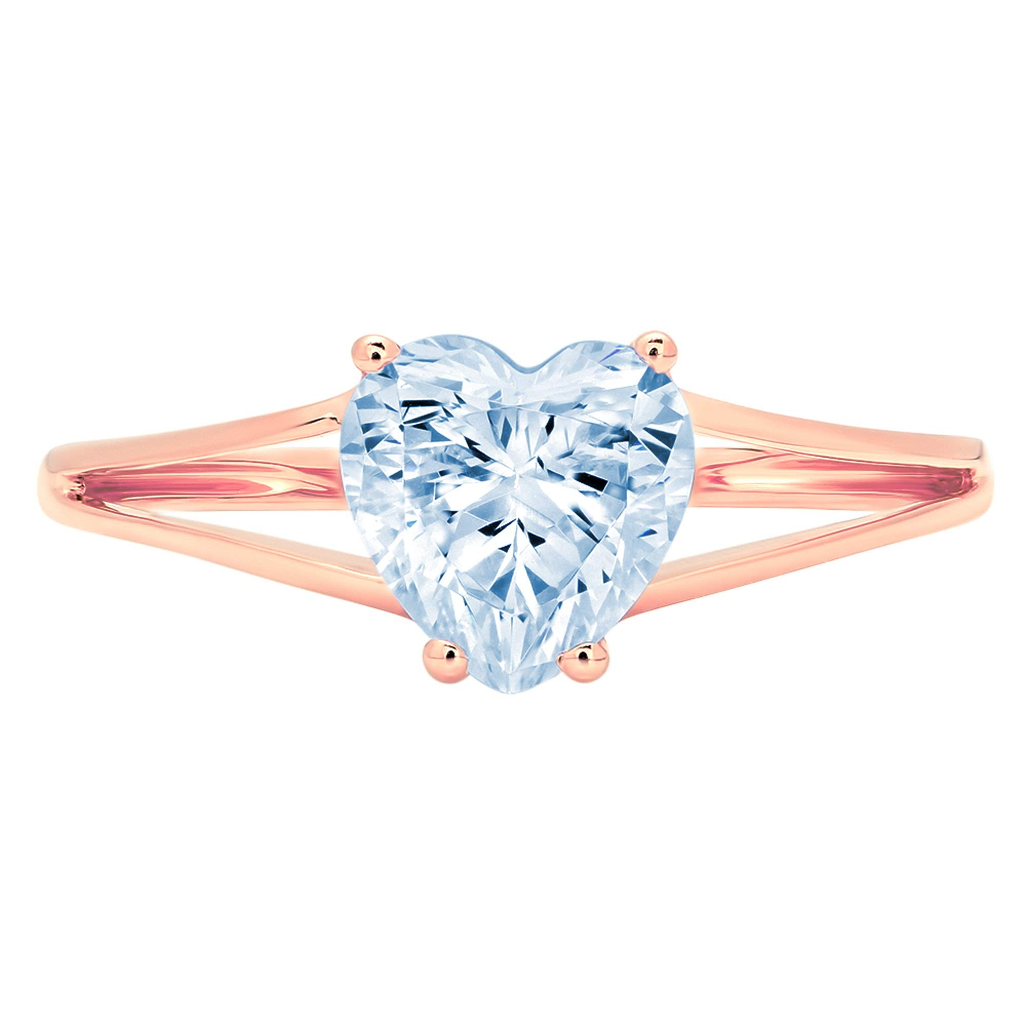 1.45ct Brilliant Heart Cut Solitaire split shank Natural Topaz Ideal VVS1 4-Prong Classic Designer Statement Ring Solid Real 14k Rose Gold for Women