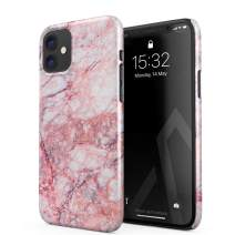 BURGA Phone Case Compatible with iPhone 11 - Soft Coral Light Pink Tropical Marble Cute Case for Girls Thin Design Durable Hard Shell Plastic Protective Case