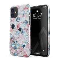 BURGA Phone Case Compatible with iPhone 11 - Pink Beach Purple Moroccan Tiles Pattern Marrakesh Mosaic Cute Case for Women Thin Design Durable Hard Plastic Protective Case