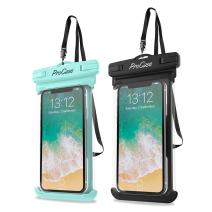 """ProCase Universal Waterproof Case Cellphone Dry Bag Pouch for iPhone 11 Pro Max Xs Max XR XS X 8 7 6S Plus SE 2020, Galaxy S20 Ultra S10 S9 S8 +/Note 10+ 9, Pixel 4 XL up to 6.9"""" - 2 Pack, Green/Black"""