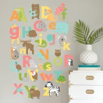 "Wall Decals Art Stickers for Cute Room Decor | Easy to Peel and Stick + Safe on Painted Walls - Fun and Colorful Animal Alphabet. Three 10""x23"" Vinyl Sheets. DIY Decoration"