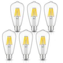 CRLight 6W Dimmable Edison Style Vintage LED Filament Light Bulb 3000K Soft White 60W Incandescent Replacement, E26 Medium Base Lamp ST64 Antique Shape, Clear Glass Cover 6-Pack