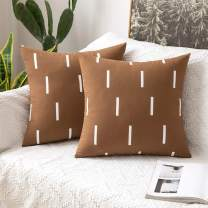 MIULEE Decorative Canvas Throw Pillow Cover Stripes Geometric Pillowcase for Couch Set of 2 Modern Cushion Case to Bedroom Sofa Car 18 X 18 Inch Coffee