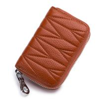imeetu Credit Card Holder, RFID Blocking Leather Wallet with Zipper(Brown)