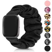 Scrunchie Bands Compatible with Fitbit Versa/Versa 2/Versa Lite & Special Edition Bands for Women,Soft Fabric Elastic Replacement Wristbands Birthday Gifts for Women (M-Black)