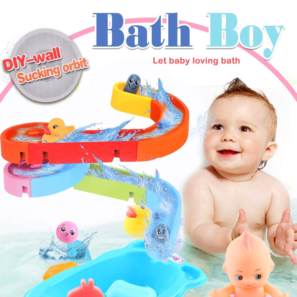 Happytime Combine Track Pathway Bath Toy 2020 DIY Free Assemble Bathroom Track Game BathtubToys for Baby (No Batteries Required)…