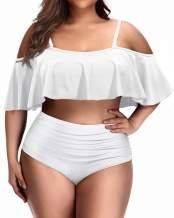 Daci Women Plus Size Flounce Bikini High Waisted Ruffled Two Piece Swimsuits Tummy Control Bathing Suits