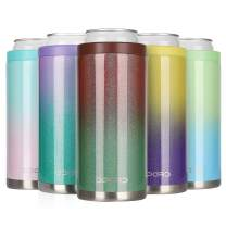 Opard Skinny Can Cooler for 12 oz Slim Beer & Hard Seltzer, Double-walled Stainless Steel Vacuum Insulated Cankeeper - Red-Green Gradient