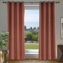 """cololeaf Blackout Linen Curtain Thermal Insulated Grommet Room Darkening Window Treatment Panel for Living Room Family Room Dining Romm Kidroom Library, FireBrick 84"""" W x 102"""" L Inch (1 Panel)"""